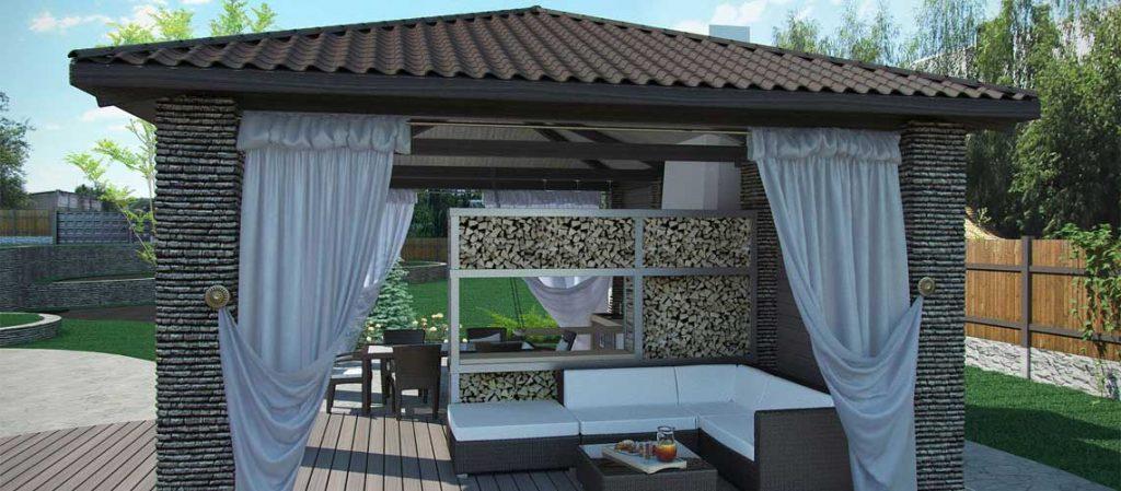 Gartenpavillon, gemauert mit gedecktem Dach